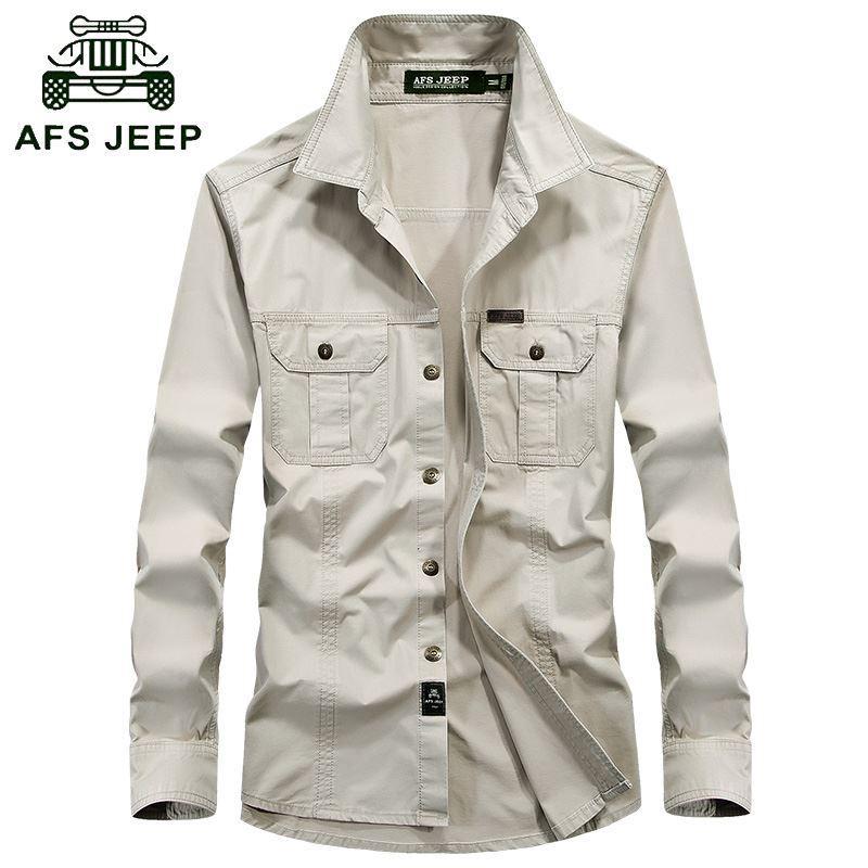 8540c32fa05196 Men's Combat Shirt U.S Tactical Shirt AFS JEEP Breathable Long Sleeve Shirt  Autumn Casual Army Dress Camisas M-5XL Men Shirts
