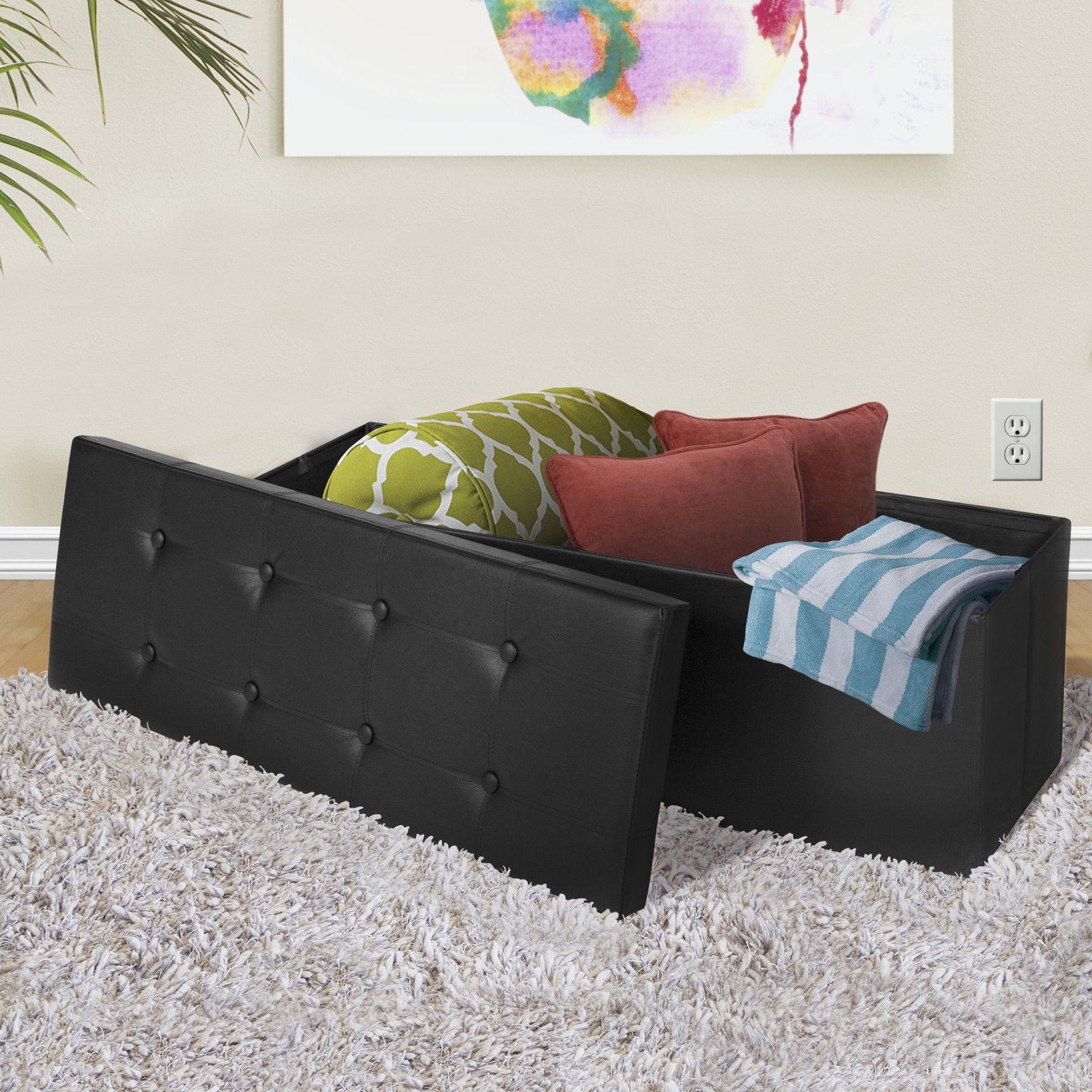 2019 Faux Leather Folding Storage Ottoman Large Black