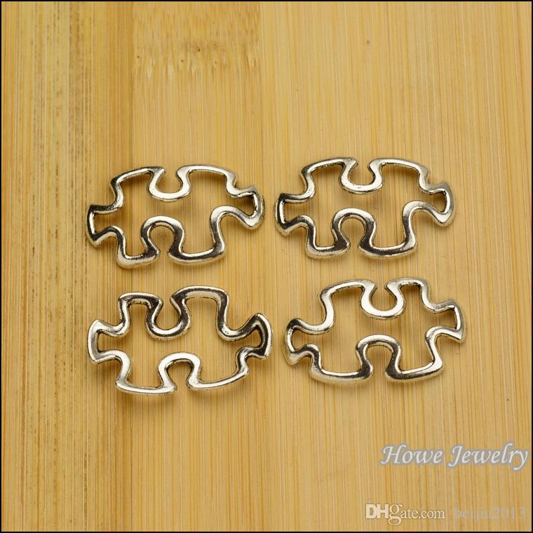 Connectors Findings Autism Puzzle Piece Antique Silver Hollow 30x18mm,B23546