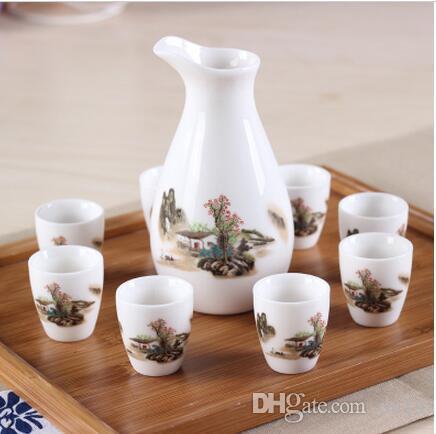 Cups Handpainted Ceramics Wine Pot Set decoration Home Japanese Style Ceramic Sake Pot Cups Set Wine Liquor Spirits Bottle Flask Cup Set Sak