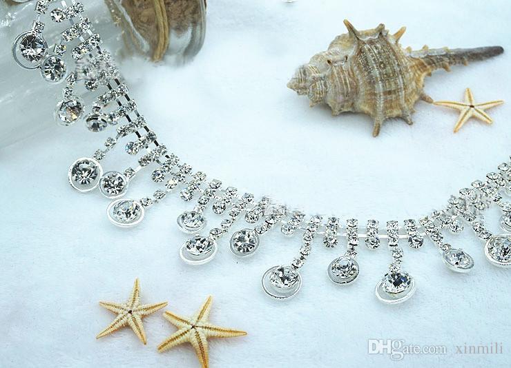 Crystal rhinestone tassel clear chain applique bridal dress trim,1Ydsew on garment craft banding