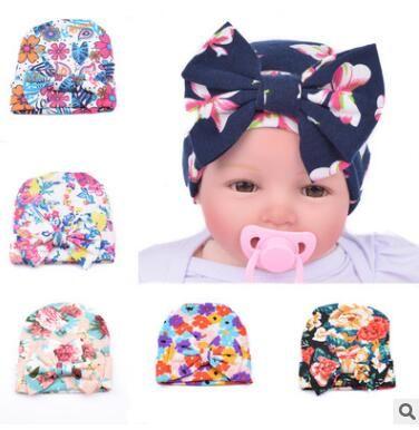 2019 Newborn Baby Floral Hat Big Bow Baby Hats Organic Cotton Spring Autumn Hat  Newborn Hospital Hat Infant Beanie Cap From Crazyfairyland f3160452c50c