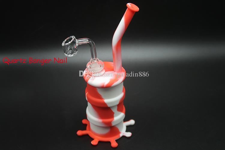 Tubi Dab silicone Rig Bong Bong narghilé Acqua Silicone Oil Rigs Dab acqua con 90 gradi 14 millimetri Maschio quarzo Banger Dab Rig Bong