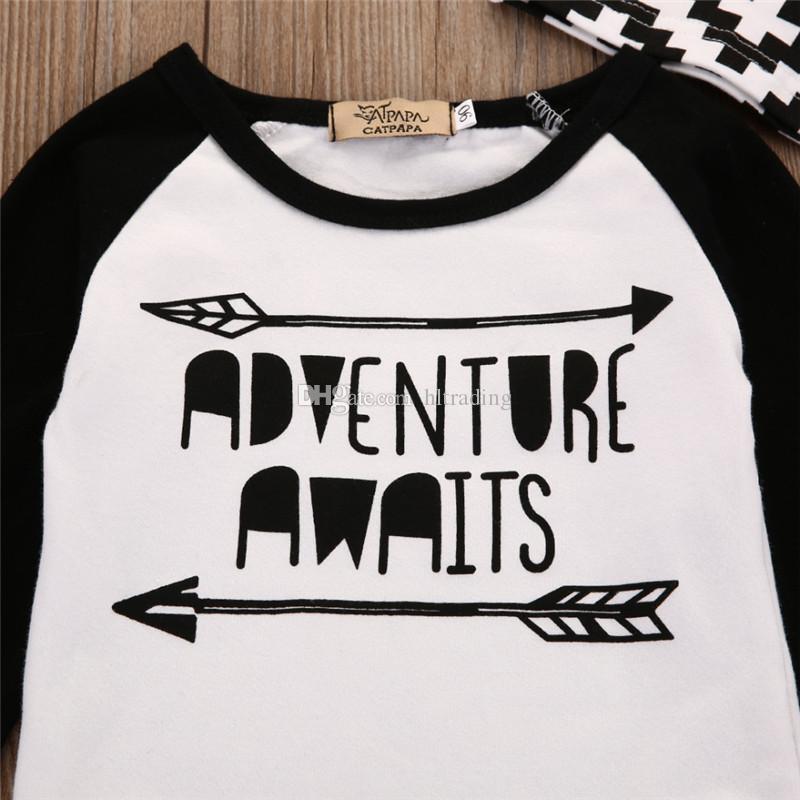 Baby boys letter outfits cotton hat+top+pants children Spring Autumn suits kids arrow Clothing Sets C3010