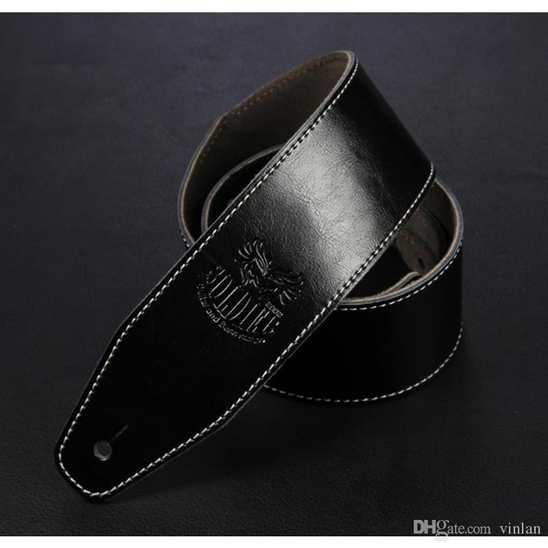 جودة عالية الصوتية الكهربائية باس غيتار أسود اللون البني الجلود حزام حزام الآلات الموسيقية الملحقات أجزاء