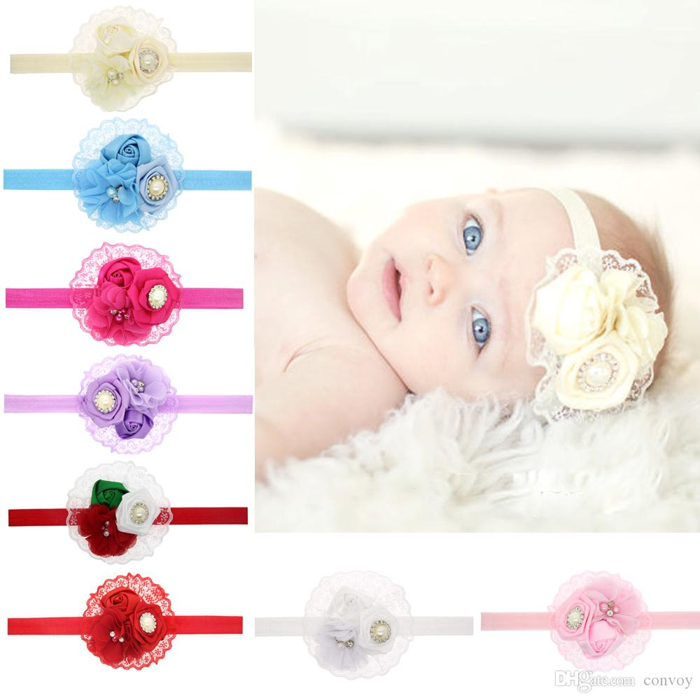 Baby Headbands Flower Rhinestone Pearl Rose Hairbands Girls Kids ...