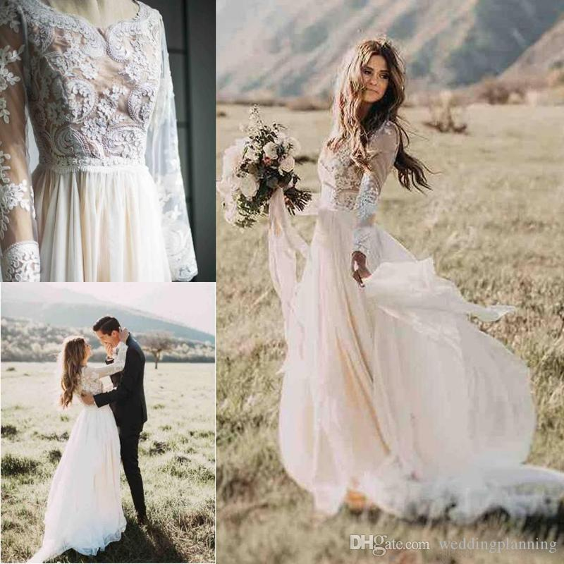 Boho Outside Full Lace Tulle Wedding Dresses Deep Jewel