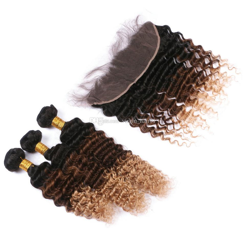 옹 브르 1B 4 27 허니 블론드 딥 웨이브 버진 브라질의 인간의 머리카락 묶음과 레이스 앞쪽의 클로저 3 톤의 옹 브르 곱슬 머리 Wefts
