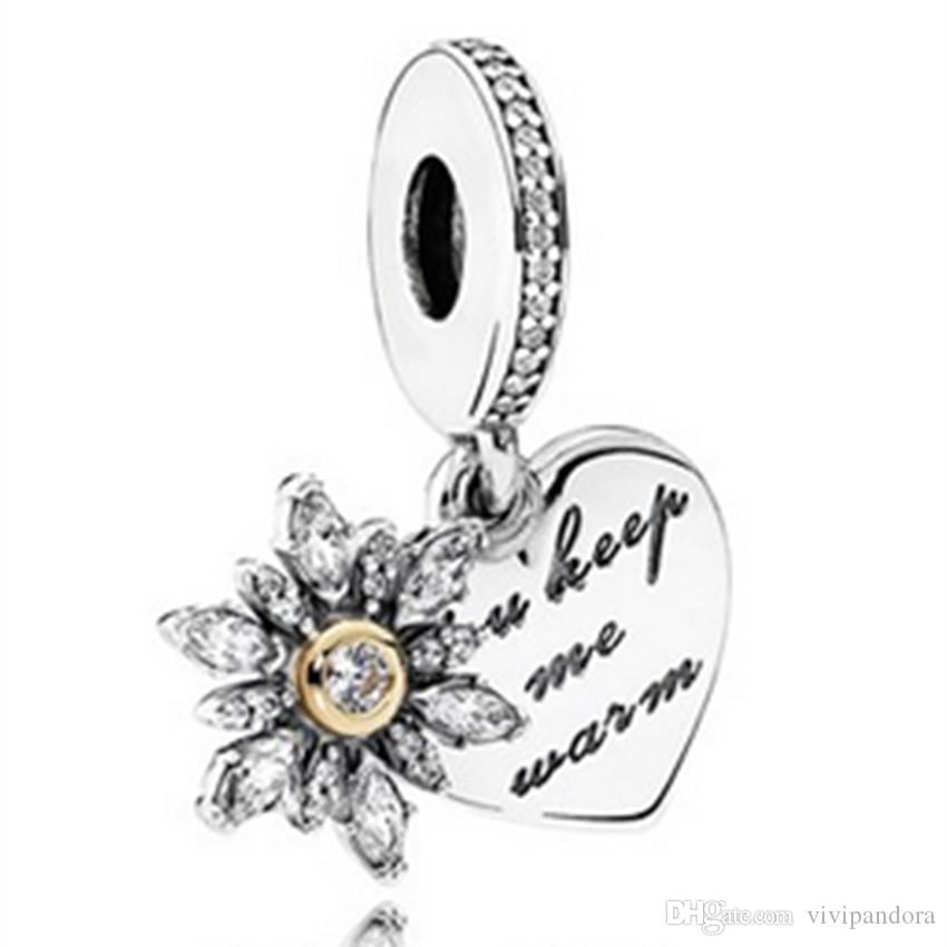 S925 Sterling Silver & 14K Real Gold Snowflake Heart Dangle Charm Bead with Cz Fit European Pandora Jewelry Bracelet Necklaces & Pendant