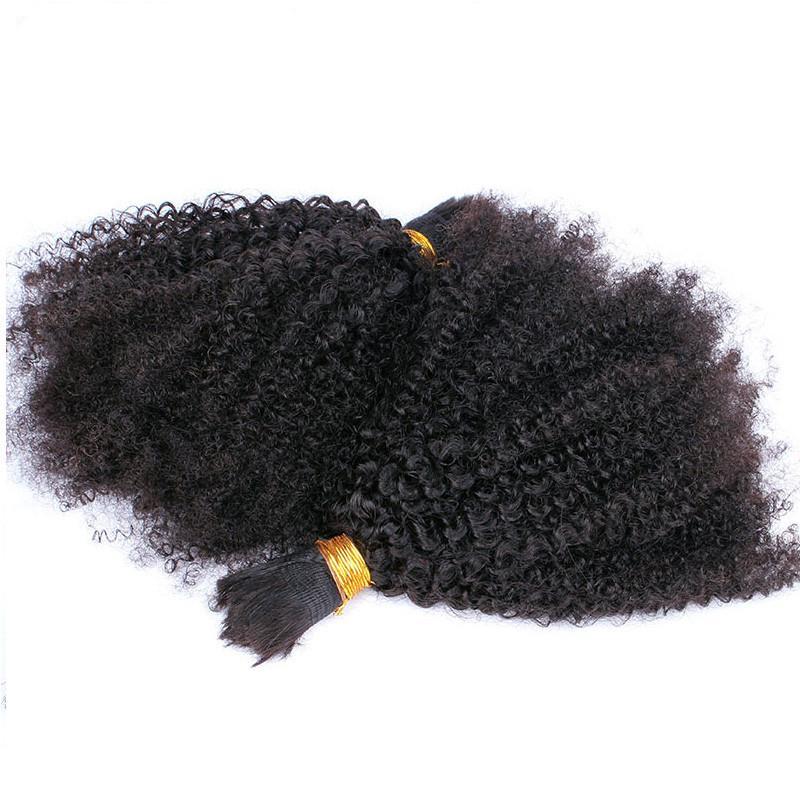 Монгольский афро странный вьющиеся волосы человека для плетения странные вьющиеся волосы наращивание 2шт 3шт натуральный цвет 12-30 дюймов
