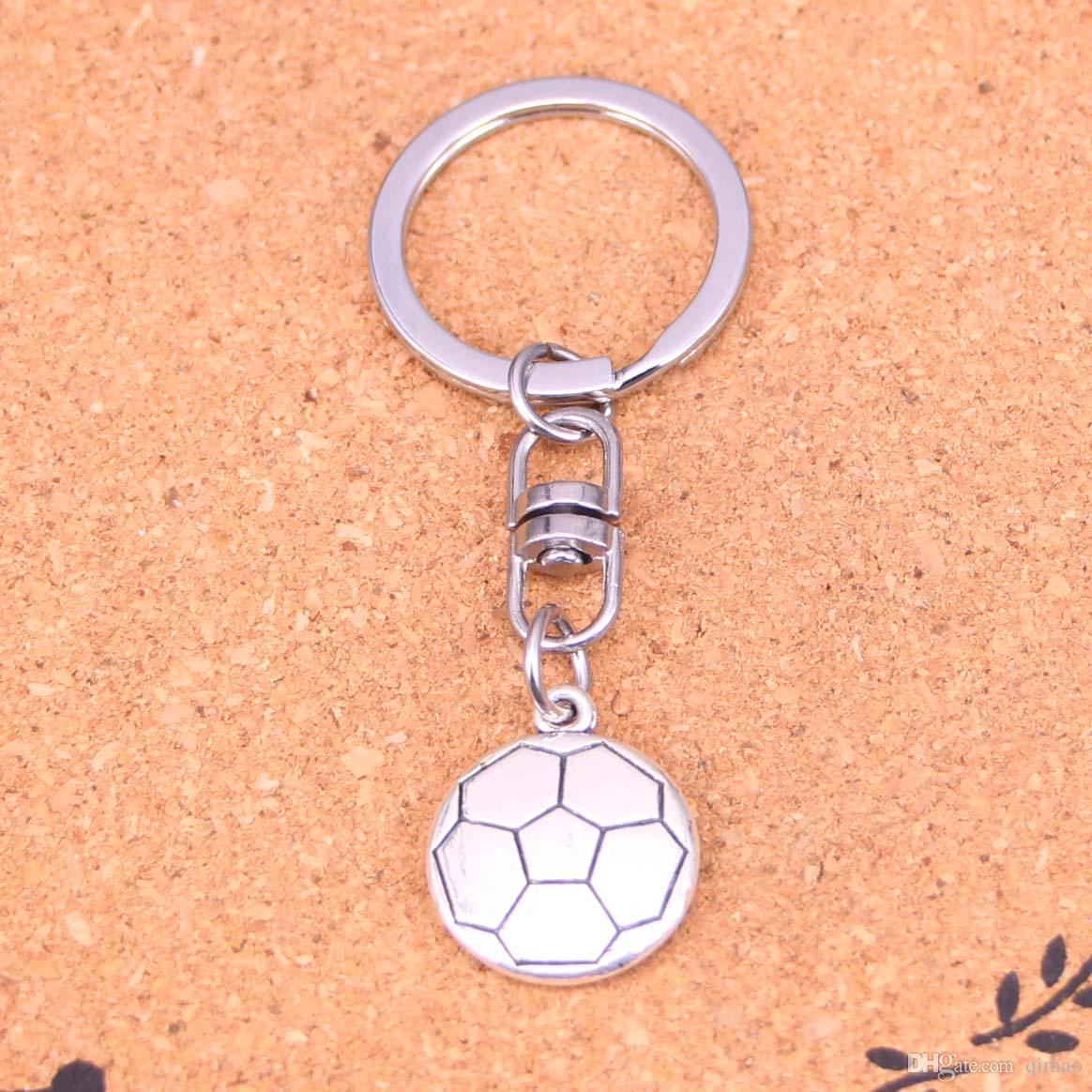 a78b32007ed0f New Fashion Double Sided Football Keychains Vintage Antique Silver Plated  Keyholder Fashion Solid Pendant Keyring Gift Keychain Charm Online with ...
