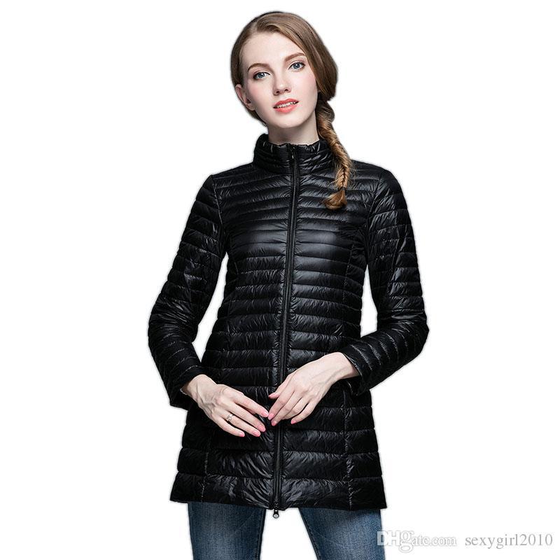2018 Ultra Thin Down Jacket Winter Coat Women Long Down Jacket ...