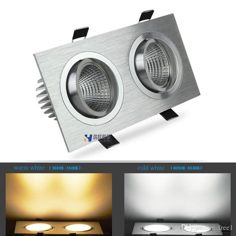 Cheap Double Cob Led Spotlight Grille 2 15w Square Dimmable