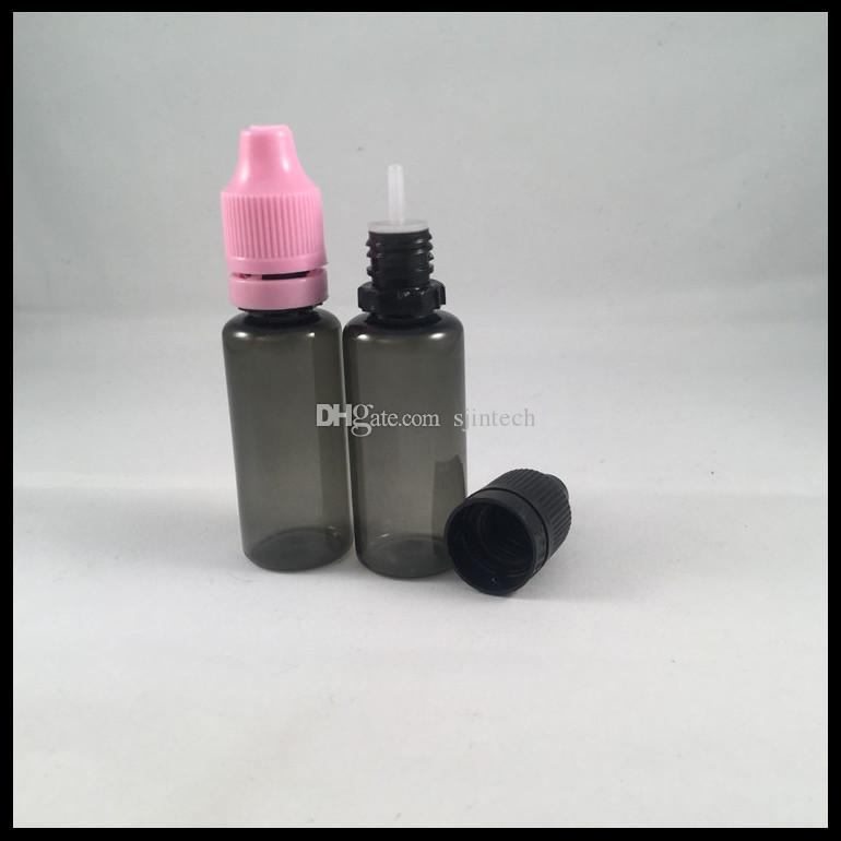 15ml E Liquid Dropper Bottles Black Plastic Bottles With Childproof Tamper Cap And Long Thin Tips For E Cigarette Ejuice