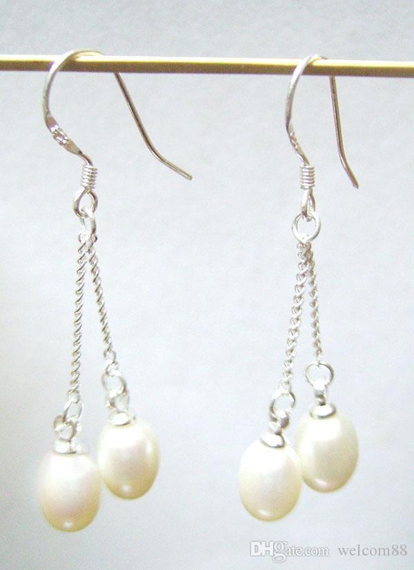 10Paies / White Pearl Серьги с белыми жемчужками Серьсовая Люстра Серебряный крючок для DIY Подарочный ремесло Ювелирные изделия C2 7x9mm
