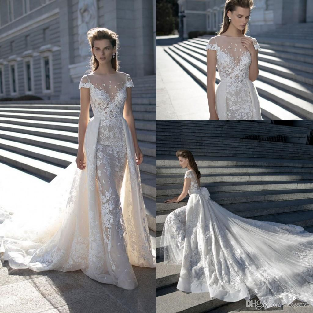 57c34ab89c1c New 2019 Gorgeous Lace Mermaid Wedding Dresses Dubai Arabic Style Petite  Short Sleeves Natural Removable Train Bridal Gowns Plus Size Designer  Mermaid Style ...