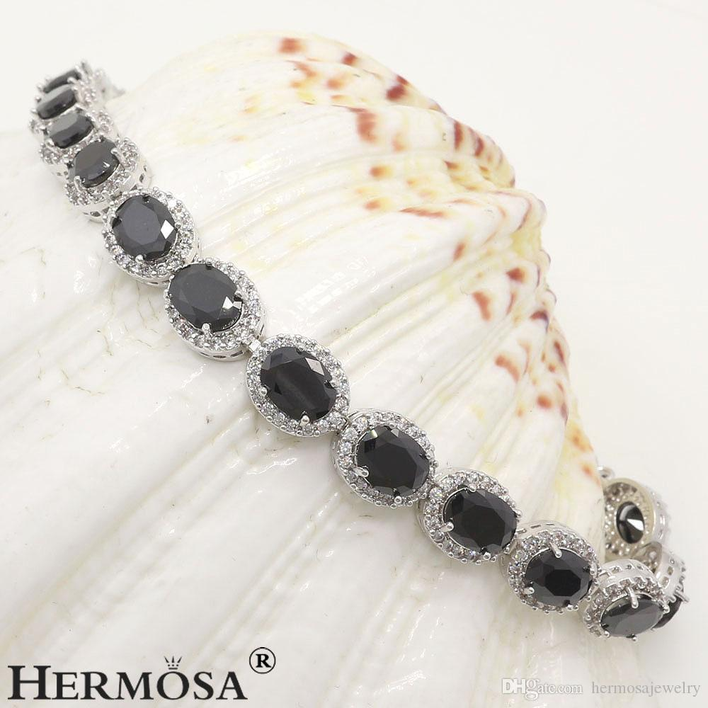 925 Sterling Silver Natural Black Onyx Charm Topaz Tennis Links Bracelets Sparkle Best Quality Christmas Gifts