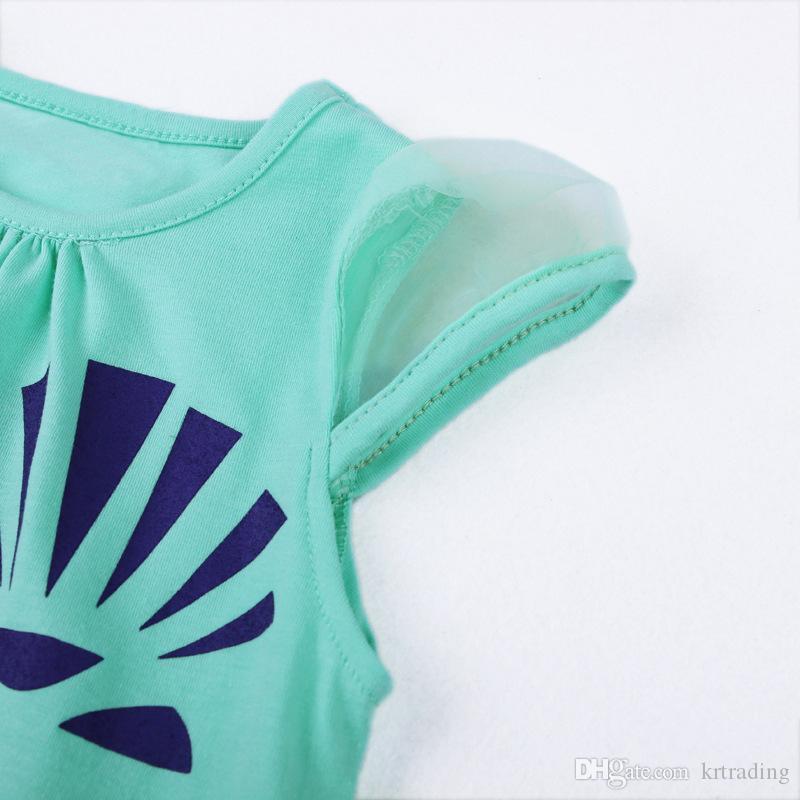 Les filles Coquillage Robe imprimée Robe manches épissage de gaze style simple d'une seule pièce tenues d'été pour les enfants en bas âge pour bébé 1-6T