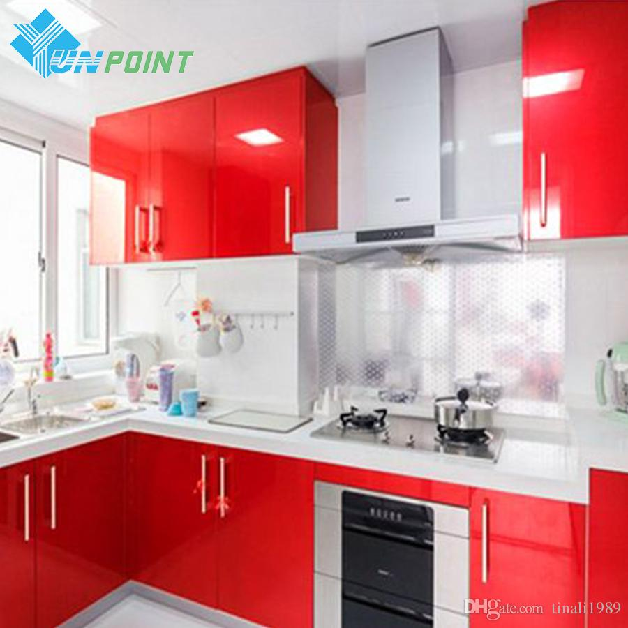 Red Glossy Wall Stickers Diy Decorative Film Pvc Vinyl Self ...