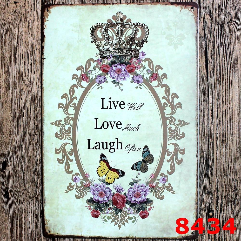 family love Retro welcome sweet home Poetry Vintage Craft Tin Sign Metal Painting Antique Iron Poster Bar Pub Signs WallMixed designs