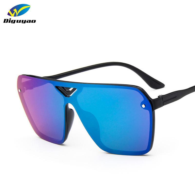 e5c8ebce3d Wholesale DIGUYAO Stylish Women Rimless Sunglasses Conjoined Lens Oversize  Men Mirror Coating Street Beat Sun Glasses UV400 Mens Sunglass Sunglasses  Brands ...