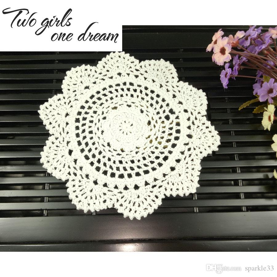 Cotton Mat Hand Crocheted Lace Doilies 20CM Flower Shape Coasters Cup Mug Pads Home Coffee Shop Table Decoration Crafts