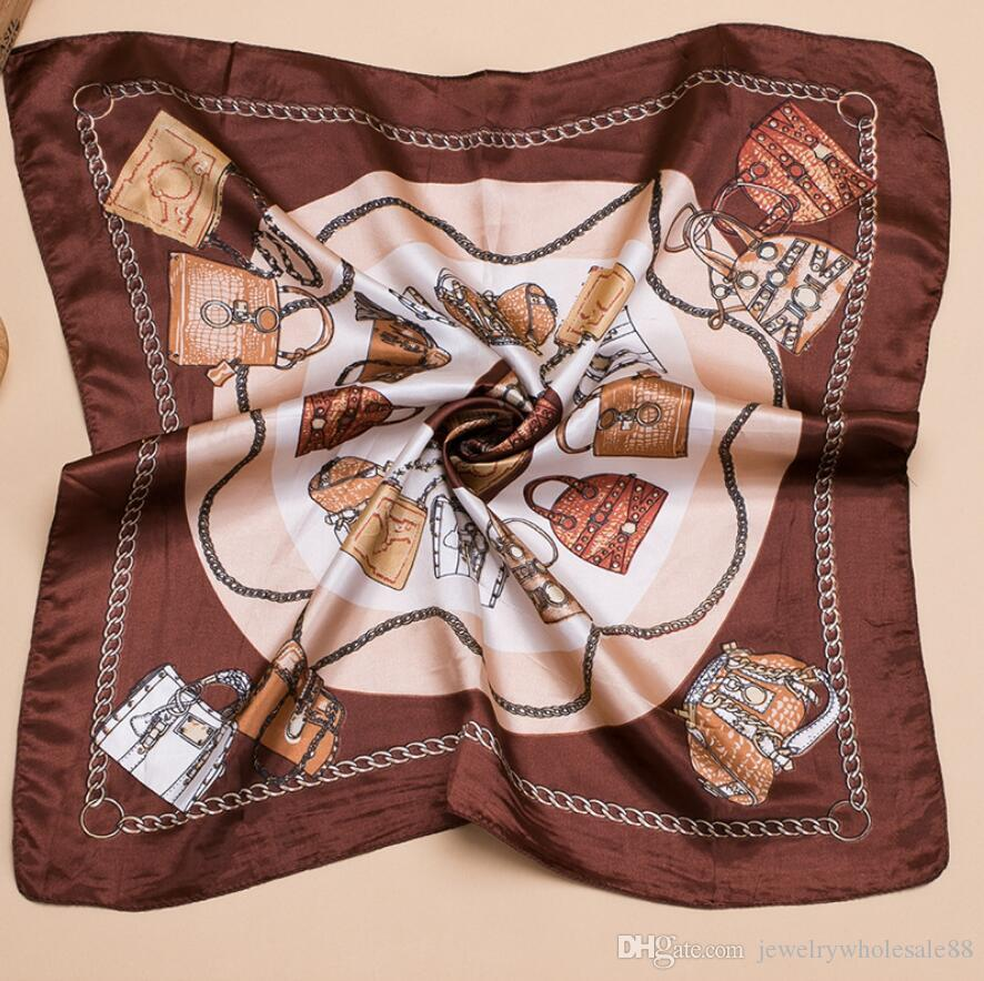 Women's Printed Silk Square Scarf Vintage Floral Collections 60*60cm