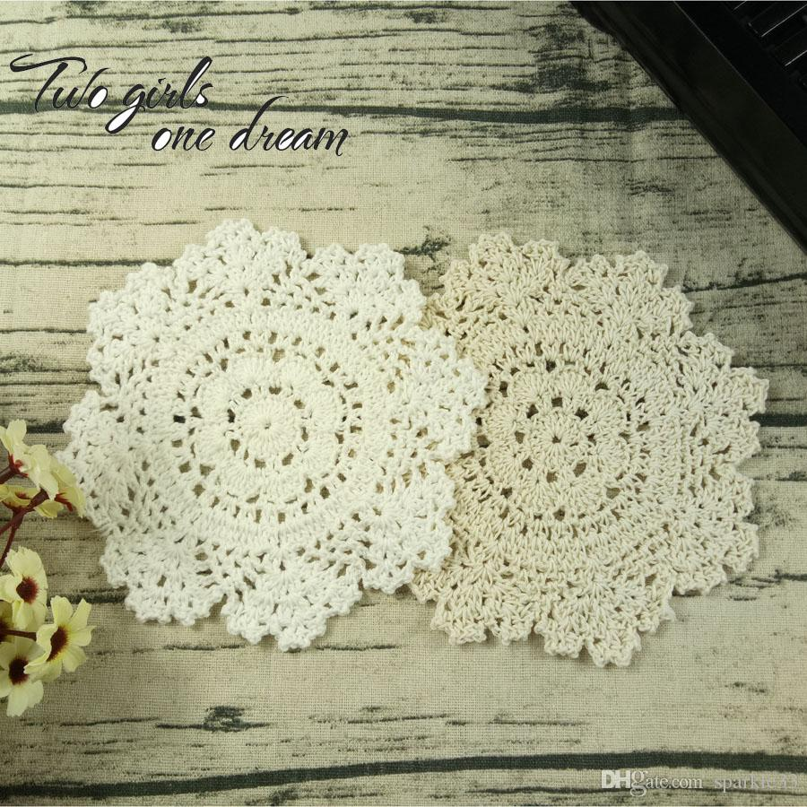 Placemat Cup Tea Coaster Pot Mug Holder Kitchen Accessory Handmade Felt Table Cloth Lace Crochet Doily Pad 16-18CM