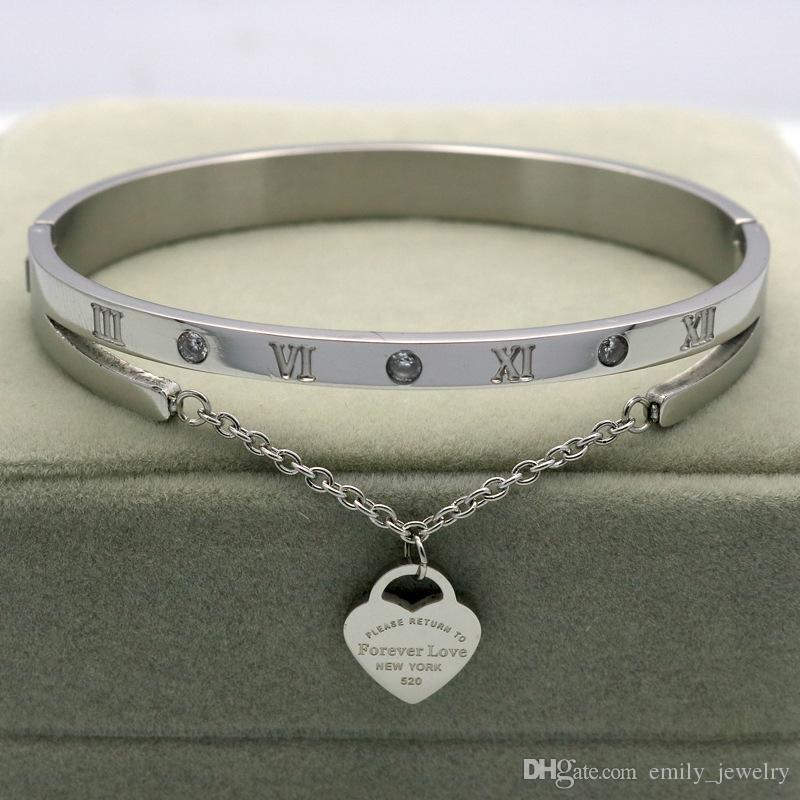 Heißer Schmuck Marke Pulseira Edelstahl H Armband Armreif Gold farbe Herz Liebe Tag für immer Liebe Armband Schmuck Für Frauen schmuck