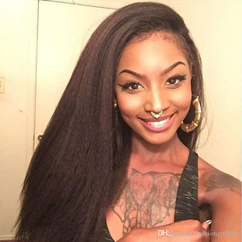 Glueless brazilian hair yaki synthetic wigs for black women kinky straight synthetic lace front wig With Baby Hair