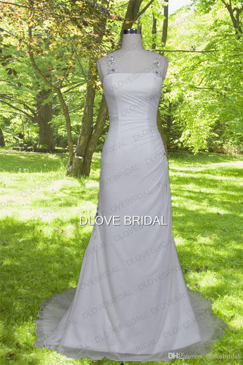 Real Photo Sheath Column Beach Chiffon Wedding Dress Unique Crystal Beaded Backless Boho Bridal Dresses Graecism Bridal Gown Made to Order