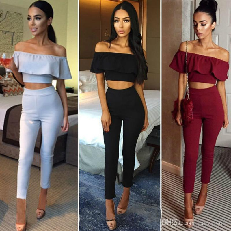 62ca0f882c5 2019 New Slash Neck Rompers Womens Jumpsuit Sexy Stretch Strapless Bodysuit  Flounced Skinny Party Playsuit Combinaison Set Long Jumpsuit From  Lucy guoli