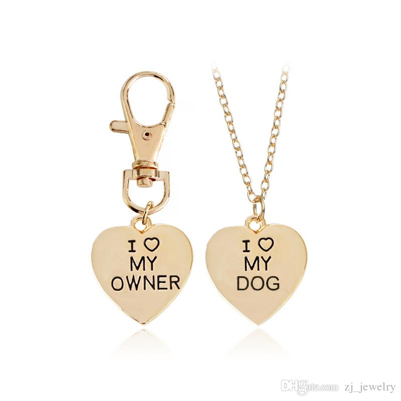 Fashion Best Friends Friendship Love Heart Necklace Key Chain Owner and Dog Letter Pendant I LOVE MY DOG Necklace Jewelry Key Rings