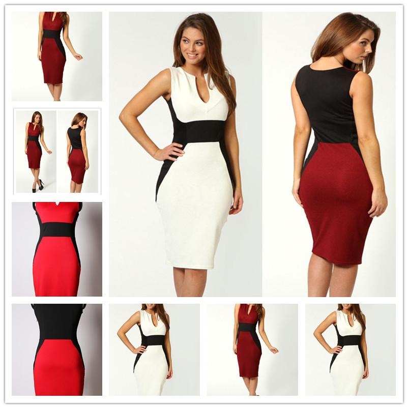 ddc0efc161 2017 New Women Casual Wear To Work Office Sheath Fitted Pencil Dress Autumn  Elegant Classy V Neck Patchwork Bodycon Dresses Size S-2XL
