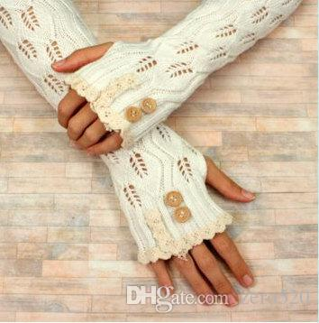 Best Leaves Pattern Knitted Arm Warmers Acrylic Fingerless Gloves