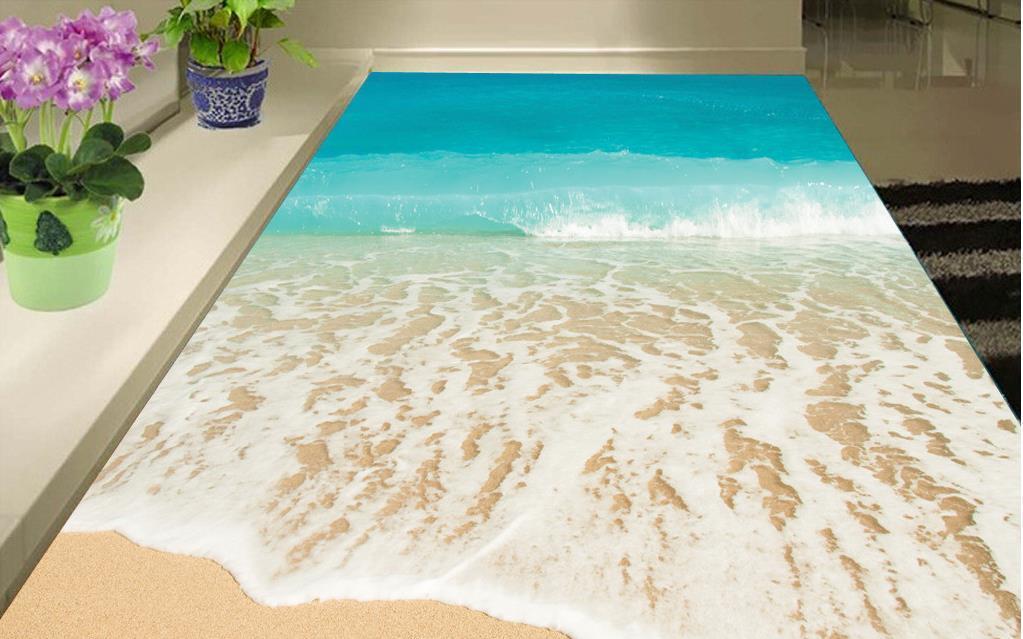 Подгонянный 3D настил Пляж Приморский фото обои 3D стереоскопические 3D напольные плитки самоклеющиеся обои