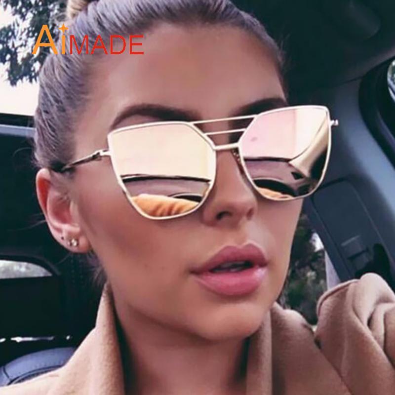ab9fcf23343f4 Compre Atacado Aimade 2016 Vintage Designer De Marca Cat Eye Sunglasses  Moda Feminina Gótico Cateye Espelho Feminino Retro Óculos De Sol Oculos  Uv400 De ...