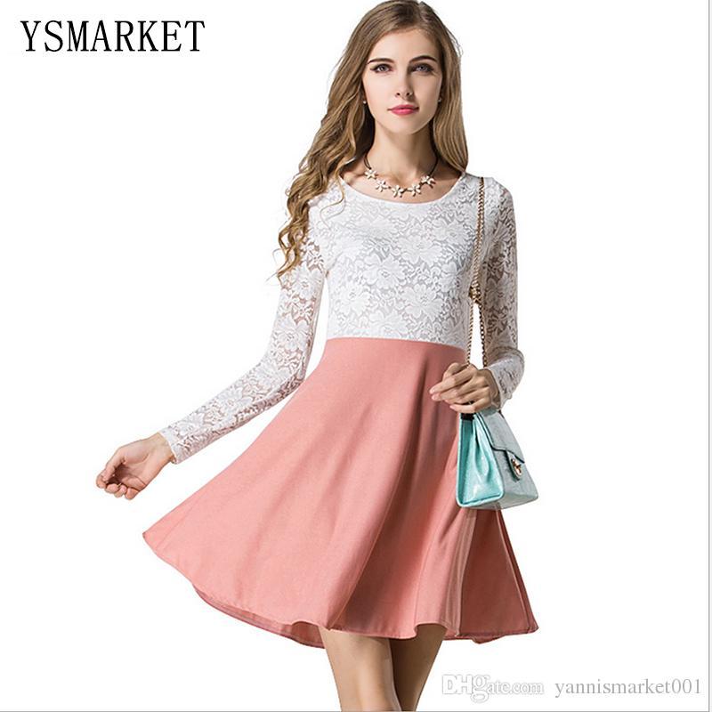 Compre Corea Del Blanco Del Cordón Del Remiendo Del Vestido De La ...