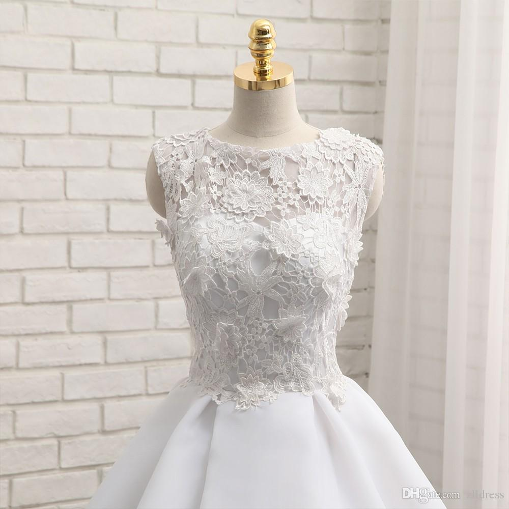 2017 Short Ball Gown Wedding Dresses Organza Sheer Mini Beach Summer Bridal Gowns Appliqued Lace Sexy Bride Dress