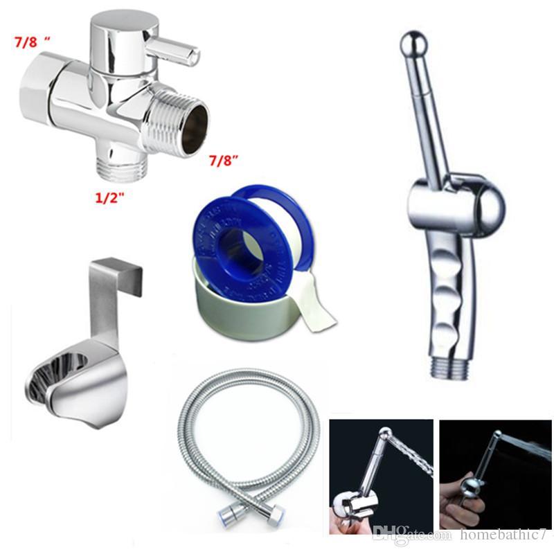 """Chrome 7/8""""Brass T-adapter Handheld Bidet Douche Toilet Shattaf Kit Sprayer Hange holder set with shower hose"""