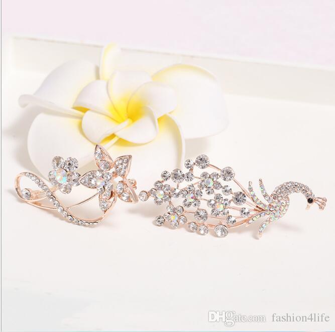 Mix Design SPEDIZIONE GRATUITA Glitter rhinestone piuma pin spilla foglia sciarpa accessori da sposa prom corsage pin