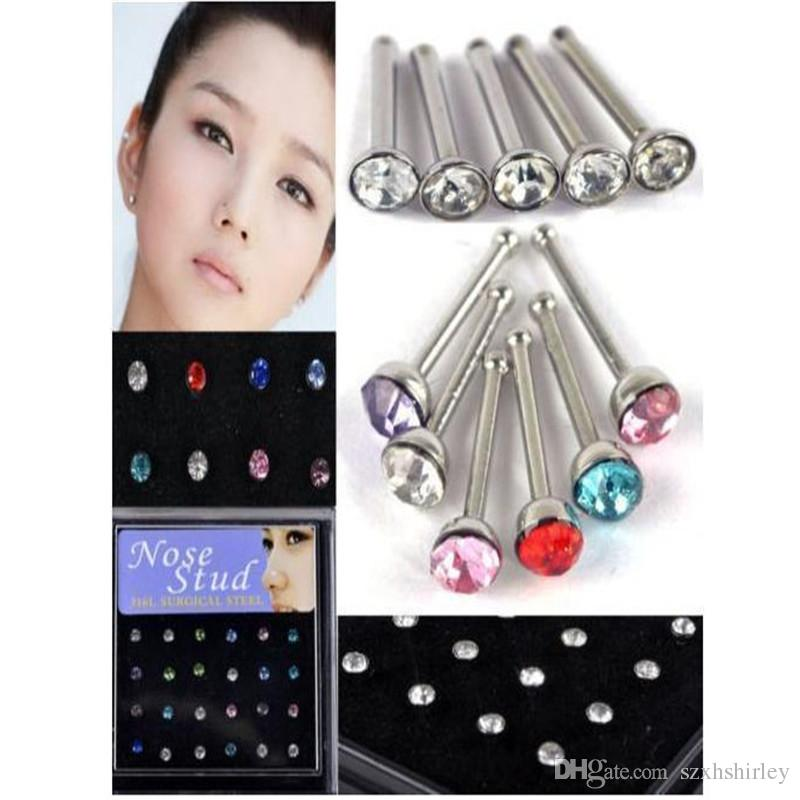 Wholesale Nose Rings Fashion Body Jewelry Nose Bar Stud 316L Stainless Surgical Steel Nose Piercing Crystal Studs Jewelry Free DHL