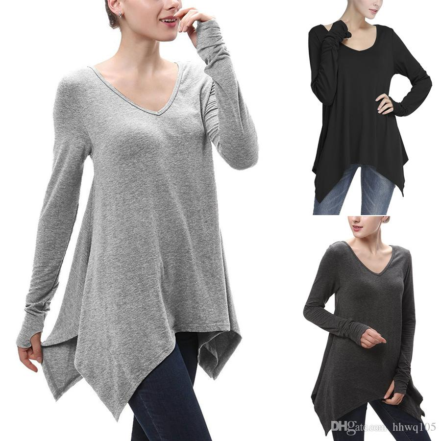 d7e86576d1a Women Long T-Shirt Ruched Long Sleeve Asymmetric Loose Casual Shirt Top  Fashion V-Neck Fall Winter Tees Gray Black Oversized Blouse MDG0618