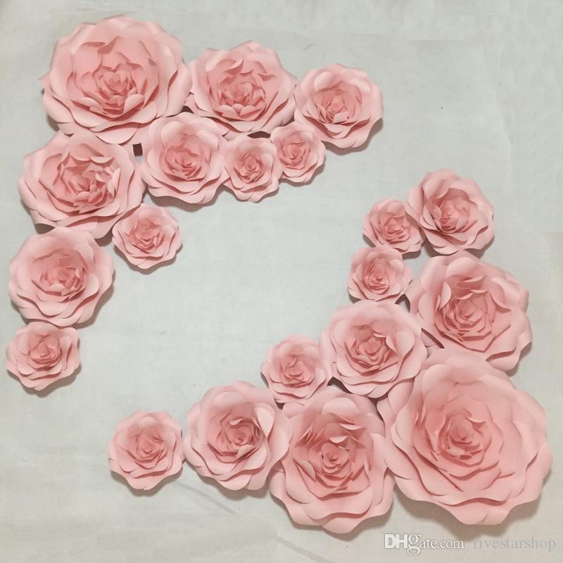 20 adettakım Dev Kağıt Çiçekler Vitrin Düğün Arka Planında Sahne flores artificiais para decora o Mix 20 CM-50 CM
