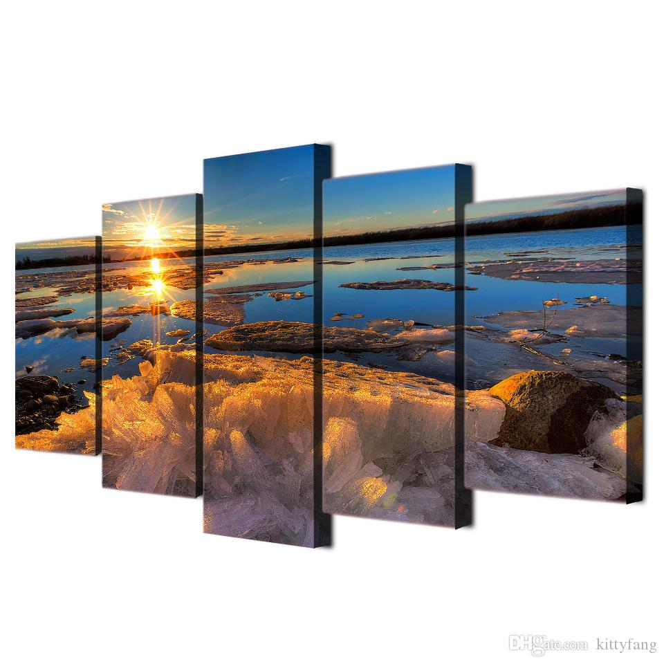 Framed HD Printed Iceberg Sunset Lake Wall Art Canvas Print Poster Canvas Pictures Landscape Oil Painting Artworks