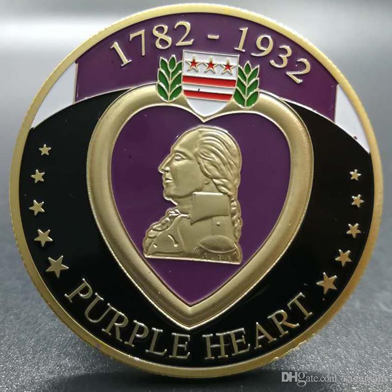 100 adet Askeri Merit 1782-1932 mor kalp altın kaplama 40mm hatıra rozeti sikke DHL ücretsiz kargo