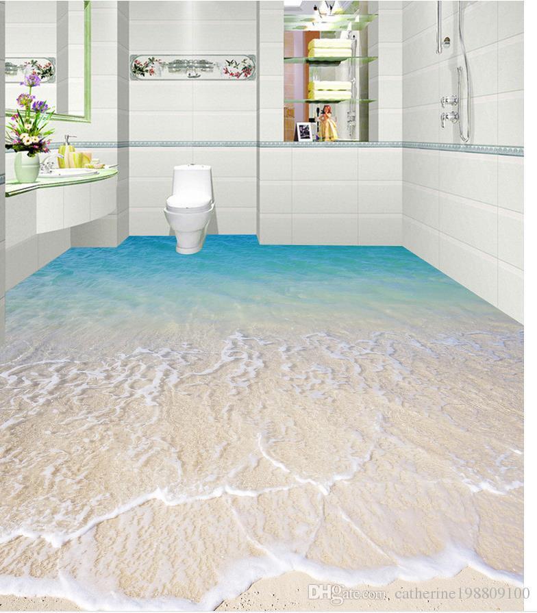 Классический декор 3D комната Море Пляж Настил водонепроницаемые обои для ванной стены