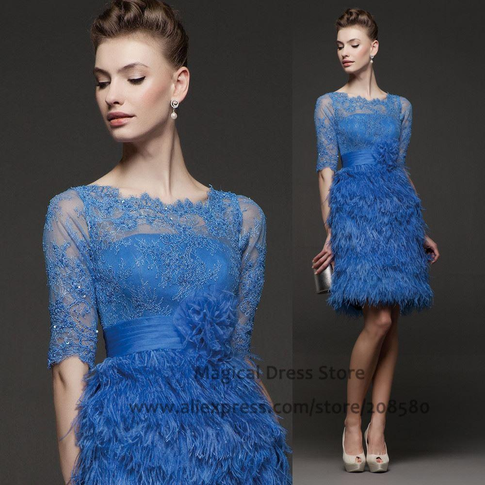 Ostrich Feather Royal Blue Short Prom Dresses Half Sleeve Beaded ...