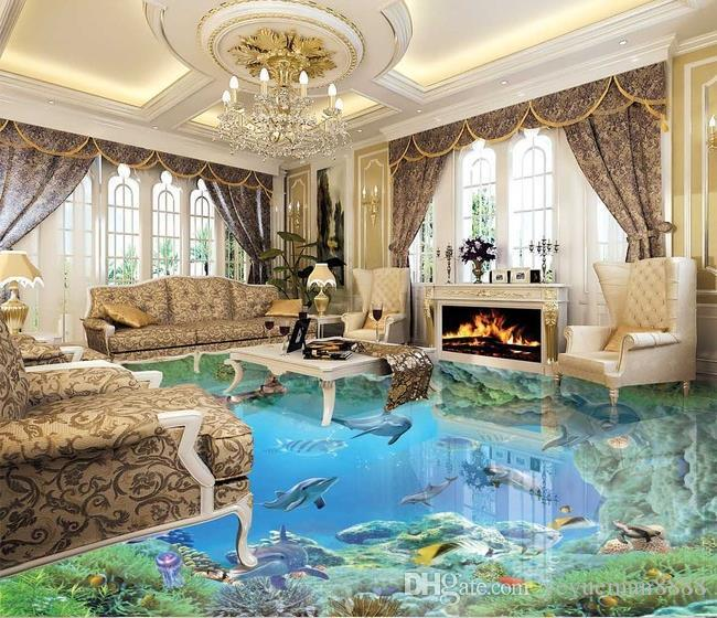 Custom 3d stereoscopic living room wallpaper 3d floor for Living room 3d tiles