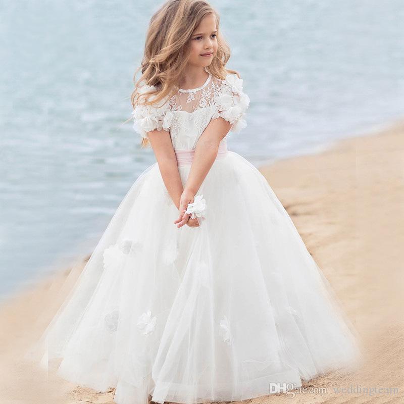 Cheap Lace Princess Flower Girl Dresses For Weddings Little Girls Pageant Dress 3D Appliques Tulle Floor Length Communion Gowns